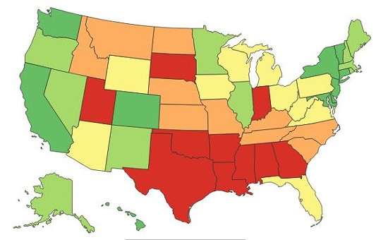 A color-ranked map of U.S. in terms of each state's treatment of women. Green is good, yellow is the middle, red is bad. Missouri is orange, which is medium-bad. - AMERICAN CENTER FOR PROGRESS