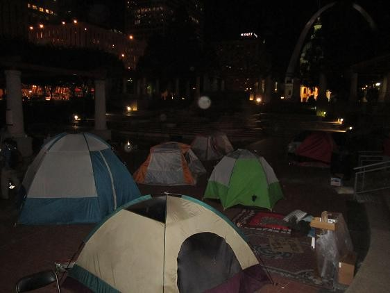 Tents occupy Kiener Plaza on Tuesday night.
