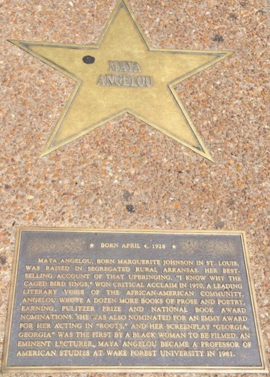 Maya Angelou's star in the St. Louis Walk of Fame. - LINDSAY TOLER