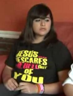 Michelle Ramirez and her spooky T-shirt. - FOX 2