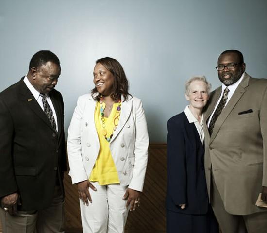 Fathers' Support Center staff: Founder Halbert Sullivan, managing director Cheri Tillis, and facilitators Sister Carol Schumer and Charles Barnes Jr. - JENNIFER SILVERBERG FOR RFT