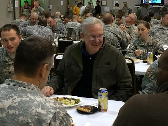 Governor Jay Nixon celebrates Thanksgiving with members of the National Guard.