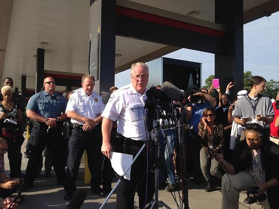Ferguson Police Chief Tom Jackson releases information about the officer who shot Michael Brown and a related robbery. - CHAD GARRISON