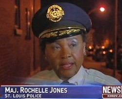 An officer talks to reporters after last night's shooting. Video below. - SCREENSHOT VIA KMOV.COM