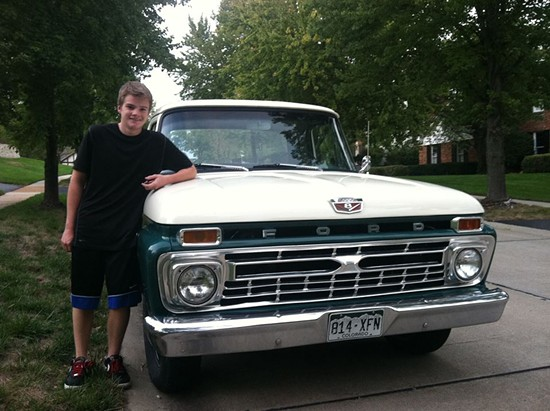 "Matt Perry, seventeen, with his ""illegal"" truck. - MATT PERRY"