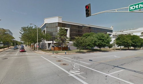 N. 10th Street and Convention Plaza, where two teens were shot at Monday morning. - GOOGLE MAPS