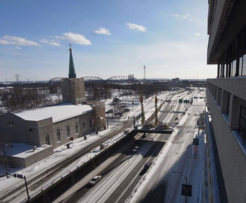 The webcam's view of Walnut Bridge, live midday Monday. - VIA