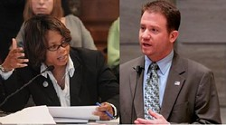Incoming state Senator Jamillah Nasheed and outgoing state Senator Jason Crowell... at least these two won't be working side by side next year.