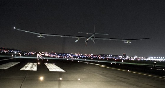 The Solar Impulse touches down at Lambert Field early this morning. - PHOTOS COURTESY SOLARIMPULSE.COM