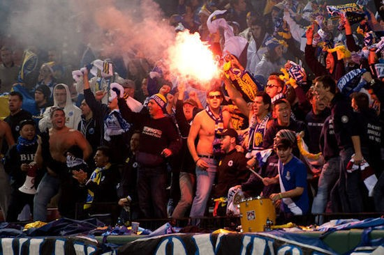 Bosnians light flares during a friendly match at Busch Stadium. - RIVERFRONT TIMES