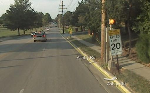 The speed limit is 20 m.p.h. outside Hoech Middle School in the 3300 block of Ashby. - GOOGLE STREET VIEW