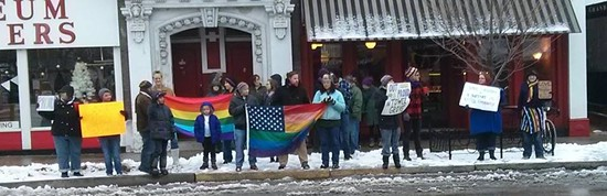 Protesters demonstrate against LGBT bullying on South Grand. - FACEBOOK