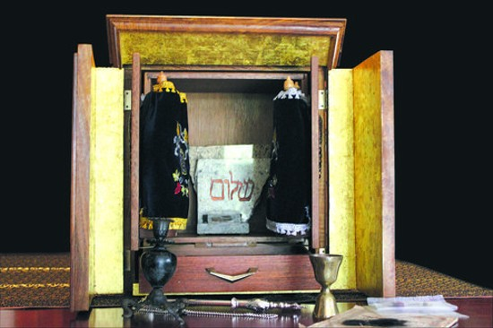 "The ""real"" dybbuk box -- shown here inside its protective ark -- is kept in a secret location somewhere in northeast Missouri. - JESSICA LUSSENHOP"