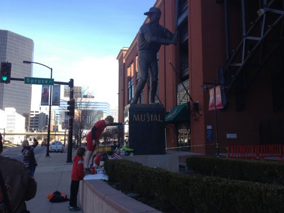 A fan pays tribute to Stan Musial at Busch Stadium over the weekend. - SAM LEVIN