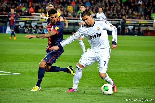 Ronaldo with the ball against FC Barcelona. - PHOTO CREDIT: MARCPUIG VIA COMPFIGHT CC