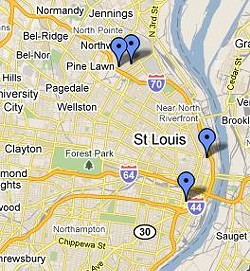 The gunplay began near Calvary Cemetery, moved south of downtown and then headed back to north St. Louis.