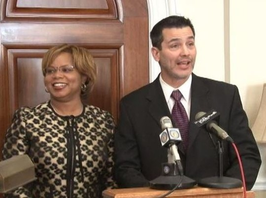 Nieves and Nasheed during a joint press conference last week.