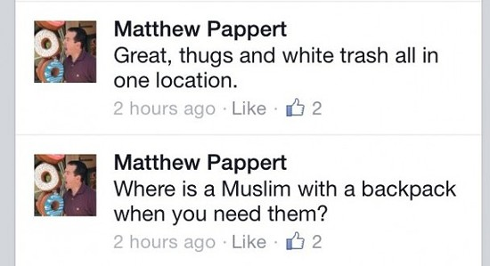 These Facebook posts (among others) forced the Glendale Police Department to fire Pappert on Thursday. - VIA