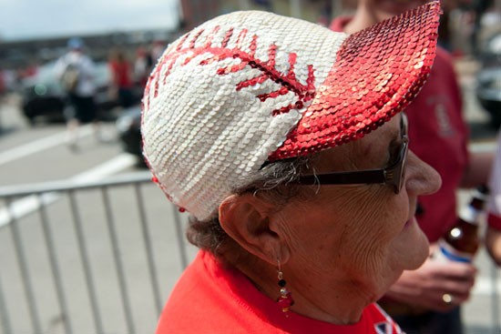 Showing off her Opening Day bling. - JON GITCHOFF