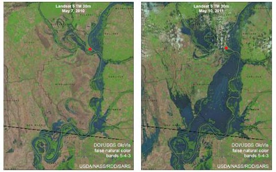 Cairo (red dot) sits at the confluence of the Mississippi and Ohio rivers. The photo on the left shows the normal condition of the rivers; the image on the right is after the Birds Point levee was destroyed.