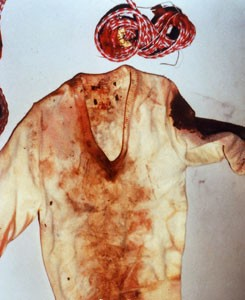 "The only items on the body of ""Jane Doe"" were this bloody sweater and a length of rope. - AMW.COM"