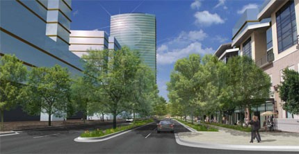 An architectural rendering of part of developer Paul McKee's massive re-development proposal for north St. Louis.
