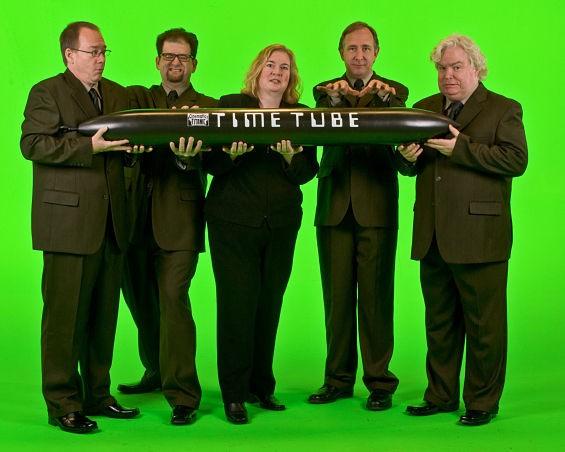 Hodgson (far left) and the Cinematic Titanic cast. - IMAGE VIA