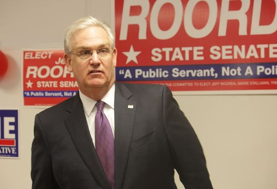 Governor Jay Nixon stopped by House Springs yesterday to campaign for Jeffrey Roorda, an outspoken police supporter running for State Senate. - DANNY WICENTOWSKI