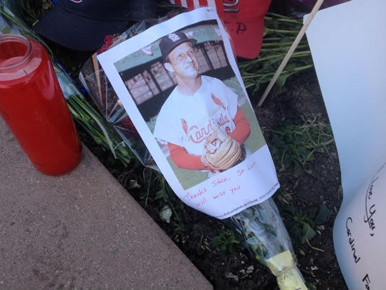 Fans outside of Busch Stadium after Musial's death. - SAM LEVIN