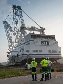The dragline crosses a highway on its slow march to the Bear Run Mine. - PHOTOS COURTESY PEABODY ENERGY