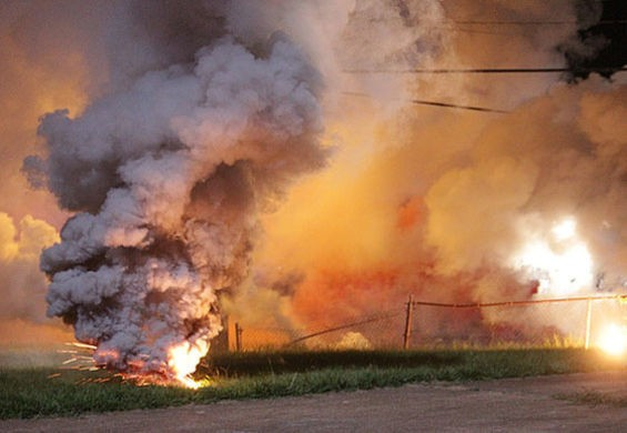 One of the many tear-gas canisters fired on Ferguson this month. - DANNY WICENTOWSKI