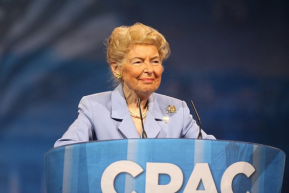 Phyllis Schlafly knows how to keep women from getting raped on college campuses: don't let them into college. - GAGE SKIDMORE VIA FLICKR