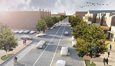 An architectural rendering of the new, improved South Grand Boulevard. - DESIGN WORKSHOP