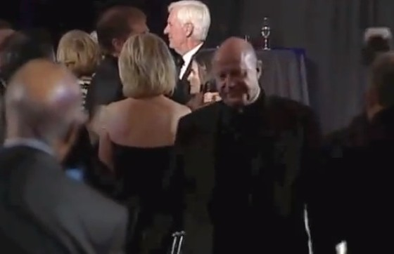 Biondi exiting after his speech. - VIA YOUTUBE