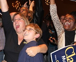 Crowd's response at the Chase Park Plaza as CNN called the election for Obama. - LEAH GREENBAUM