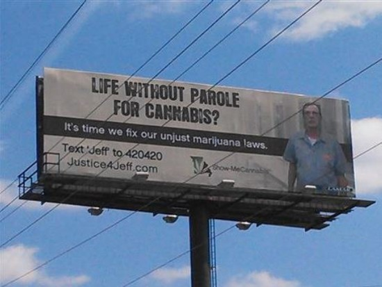 The billboard is on I-70 in Saline County. - SHOW-ME CANNABIS