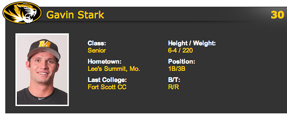 Stark's athletics page at Mizzou. - VIA MUTIGERS.COM