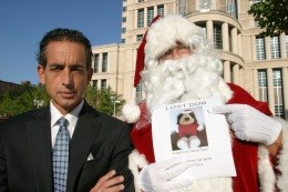 Al Watkins and Santa Claus, before a federal court hearing, asking: Where is the real Santa Paws? - PHOTO BY NICHOLAS PHILLIPS