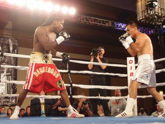 Dannie Williams knocked out Antonio Cervantes on a perfect right hook, in a bout that co-headlined ESPN's Friday Night Fights. It was Williams' first televised fight. - ALBERT SAMAHA