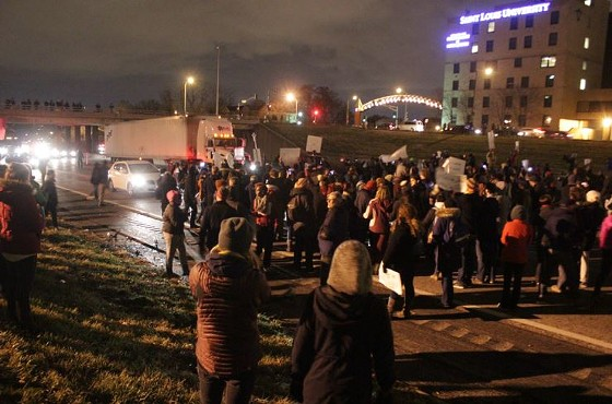 Around 300 protesters blocked both east- and westbound lanes of I-44. - DANNY WICENTOWSKI