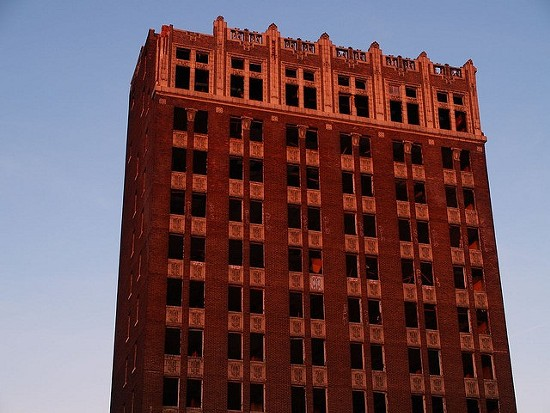 The top of the Spivey Building, showing its beautiful terra-cotta cornice. - CHRISTINA RUTZ VIA FLICKR