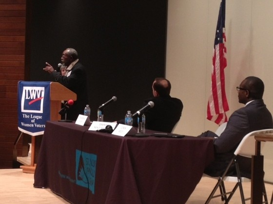 Jimmie Matthews speaks as Francis Slay and Lewis Reed listen at a debate in January. - SAM LEVIN