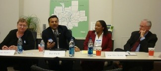 Joan Suarez of Missouri Immigrant & Refugee Advocates; immigration-rigths attorney Pari Sheth, Kim Allen Murray of Legal Services of Eastern Missouri, and former Gov. Bob Holden.