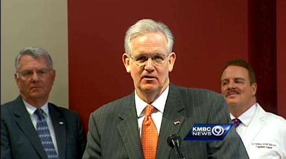 Governor Jay Nixon dodging a gay marriage question last week. - VIA