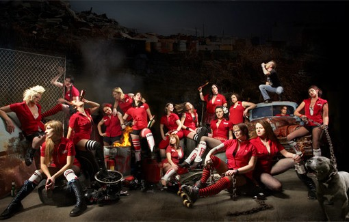 The team photo for the M-80s of the Arch Rival Roller Girls. - IMAGE VIA ARCHRIVALROLLERGIRLS.COM