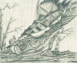 A drawing shows a keel boat tossed by waves from the tremor. Despite the magnitude of the earthquakes, few people died because the population in the area was so sparse at the time.