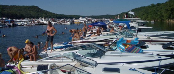 """This is one of five safe-for-work images availble when one searches """"Party Cove Ozarks"""" on Google. It's the hub for fresh water-based debauchery each summer in Missouri."""
