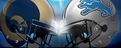 This pre-grame graphic on the Detroit Lions web site seems to promise helmet-smashing football in outer space. - HTTP://WWW.DETROITLIONS.COM/