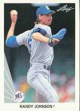 1990 Randy Johnson card by Leaf, from back when he was known for throwing balls to the backstop on a regular basis.