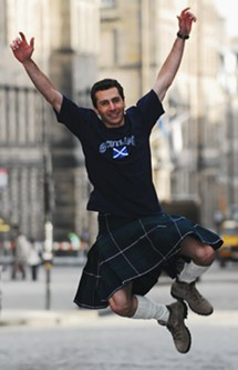 Oh, sure, kilt guys always LOOK fun. But just wait. It's going to get ugly.